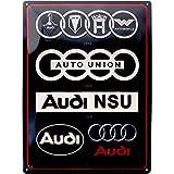 Nostalgic-Art Retro Blechschild Audi – Logo Evolution – Geschenk für Auto Zubehör Fans, aus Metall, Vintage-Design zur Dekoration, 30 x 40 cm