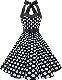 DRESSTELLS Neckholder Rockabilly 1950er Polka Dots Punkte Vintage Retro Cocktailkleid Petticoat Faltenrock Black White Dot L