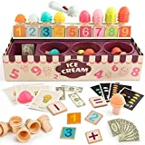 TOP BRIGHT Eisverkauf Spiele-Set - Mathe- und Logik-Spiel - Eisportionier-Spielset für Kleinkinder - Pädagogisches Rollenspiel für kleine Kinder - Eistüte mit Mathe-Karten - Kognitive Entwicklung