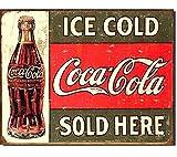 Coca Cola 1299 Wandplakette/Blechschild, Retro-/Vintage-Stil, Aufschrift 'Ice Cold Coca Cola Sold Here', groß