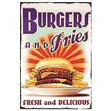 HOGARO Retro Vintage Deko Blechschild 20 x 30 cm Burgers and Fries BBQ Retro Diner Schild