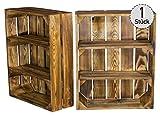 Vintage-Möbel24 Flache Regalkiste mit 3 Fächern – geflammt – Holzkiste als Wandregal – Shabby Chic - 50x40,5x16cm