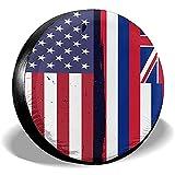 Hokdny Radreifenabdeckungen, Wasserdichter Ersatzreifenschutz,Hawaii State Flag Usa Flagge Retro Reifenabdeckungen Auto Auto Ersatzreifen Reifenabdeckung