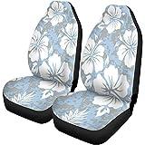 Beth-D 2Er Set Autositzbezüge Flower Hawaiian Aloha Muster Hawaii Luau Polynesian Retro Surf Auto Vordersitze Protector Passend