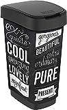 Rotho Twist Mülleimer 50l mit Deckel, Kunststoff (PP) BPA-frei, schwarz/hipster, 50l (40,1 x 29,8 x 60,2 cm)