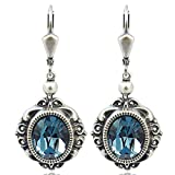 Vintage Ohrringe mit Kristallen von Swarovski® Silber Blau NOBEL SCHMUCK