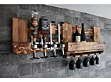 RUSTIKALE WANDBAR mit 4cl DOSIERSPENDER für Cocktails, Longdrinks,Vintage Wandregal Flaschenhalter groß aus Paletten Holz, Geschenk Vatertag Hausbar Landhausstil Deutschland Österreich