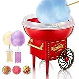 Zuckerwattemaschine für Zuhause, Rot Cotton Candy Machine In Retro-Design,500W Zuckerwatten-Maker, Inkl. Messlöffel und 10 Holzstäbchen, Spritzschutz, Zuckerwattegerät für Kindergeburtstag