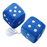 Sedeta® Paar Blau Fuzzy Dice-Punkte-Rückspiegel-Aufhänger Oldtimer-Zubehör