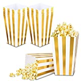 VAINECHAY 12 Stücke Candy Tüten Partytüten Set Popcorn Boxes Popcorn Tüten KleinGeschenktüten Weihnachten Party Geburtstag Hochzeit Geschenk Gold Streifen