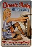 Blechschild Classic Auto - Werkstatt Pin Up Girl 20 x 30cm Reklame Retro Blech 114