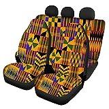 SEANATIVE Auto Universal Sitzzubehör Afrikanisch Traditionell Bedruckte Autositzbezüge Elastisch Eimer Sitzpolster Retro Stil Sitzschutz Abdeckung 3 Stück