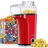 Popcornmaschine 1400W, Heißluft Popcorn Maker Machine für Zuhause, Große Kapazität für bis zu 120g Mais, Heißluft Popcorn maker ohne Fett & Öl, Abnehmbarer Deckel, BPA-Freie