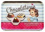 Lashuma Retro Kunststofftablett bunt, Robustes Geschirrtablett 45x31 cm, Serviertablett groß, Design: Schokolade