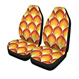 Beth-D 2Er Set Autositzbezüge Seventies Retro Pattern 1970Er Flame 1960Er 60Er 70Er Abstract Universal Auto Front Seats Protector 14-17IN