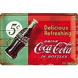 Nostalgic-Art Retro Blechschild, Coca-Cola – Delicious Refreshing – Geschenk-Idee für Coke-Fans, aus Metall, Vintage-Design zur Dekoration, 20 x 30 cm