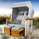 BRAST Strandkorb Nordsee XXL Volllieger Grau Wei gestreift incl. Schutzhlle 2 Sitzer 120cm breit Gartenliege Sonneninsel Poly-Rattan