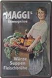 Maggi Retro Reklame mit Dame, Blechschild, hochwertig geprägtes Retro Werbeschild, Türschild, Wandschild, Dekoration 30 x 20 cm