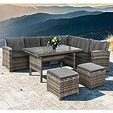 ArtLife Polyrattan Sitzgruppe Lounge Santa Catalina beige-grau – Gartenmöbel-Set mit Eck-Sofa, 2 & Tisch - bis 6 Personen - wetterfest & stabil