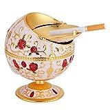 HEEPDD Globus Aschenbecher, Vintage Winddicht Aschenbecher Tisch tragbare Mini Metall Runde Kugel Zigarette Aschenbecher Geschenk für Männer Frauen(Gold)
