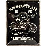 Nostalgic-Art Goodyear – Motorcycle – Geschenk-Idee für Auto- und Motorrad-Fans, Retro Blechschild, aus Metall, Vintage-Dekoration, 15 x 20 cm