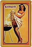 Blechschild Pin Up Girl Grillzeit 20 x 30cm Reklame Retro Blech 356