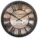 Wanduhr - Vintage-Stil - Durchmesser: 39 cm - Braun / Kupferfarben - Used-Look