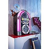 W B Jukebox Stereo-Anlage   Moderne Kompaktanlage im nostalgischen Jukebox-Design   mit Radiofunktion, USD/SD Playback und CD Player   2 Stereo-Lautsprecher