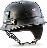 "Moto Helmets® D33 ""Leather Black"" · Brain-Cap · Halbschale Jet-Helm Motorrad-Helm Roller-Helm Scooter-Helm Bobber Mofa-Helm Chopper Retro Cruiser Vintage Pilot · Schnellverschluss Tasche S (55-56cm)"
