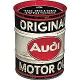 Nostalgic-Art, Retro Spardose, Audi – Motor Oil – Geschenk-Idee für Auto Zubehör Fans, Sparschwein aus Metall, Vintage Blech-Sparbüchse, 600 ml