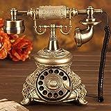 DECB-Phone Europäisches Wählscheiben-Telefon, kreative Klassische schnurgebundene Retro- antike Festnetztelefone, mit klassischer Metallklingel und Wahlwiederholungsfunktion für Inneneinrichtungen