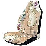 Alice Eva Autositzbezug Retro Pattern Deer Bird Rabbit Vordersitzbezug Auto Seat Protector für SUVs