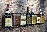 Livitat® Wandregal Wein Weinregal Flaschenregal Metall Used Look Vintage LV5013 (7 Flaschen)