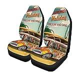 Autositzbezüge Reisen Sommerferien Retro Bus Surf Vintage Strand Van 2er Set Protektoren Auto Fit für Auto