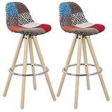 WOLTU® 2 x Barhocker 2er Set Barstuhl aus Leinen Holzgestell mit Lehne + Fußstütze Design Stuhl Küchenstuhl optimal Komfort Patchwork Mehrfarbig BH45mf-2