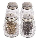 Lawei 4 Stück Mason Jar Salz- und Pfefferstreuer Vintage Glas Gewürzstreuer Gewürzgläser mit Schraubdeckel für Küche Restaurant Gewürz Kräuter - 90 ml