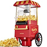 Popcornmaschine Retro, 1200W für Zuhause Popcorn Maschine Maker mit Heissluft, Popcorn Machine ohne Fett Fettfrei Ölfrei, Eine-Taste-Operation, Popcorn Popper, Rot[Energieklasse A+++]
