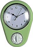 ootb Wanduhr »Kitchen« Retro 50er Jahre Design mit Kurzzeitwecker (Grün)