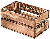 LAUBLUST Vintage Holzkiste Klein - Geflammt | Aufbewahrungskiste aus Holz - Geschenkkiste & Deko | ca. 30x20x15cm - M