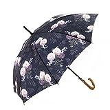 MARY SAM'S Umbrella, Stabiler ultraleichter Damen und Herren Stockschirm mit Holzgriff, Auf-Automatik Regenschirm wasserabweisend und windfest, Lila Rosa Blumenmotiv mit Vintage Rosen
