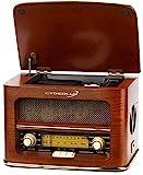 Nostalgie Kompaktanlage | Retro Radio Holz mit CD Player | USB Wiedergabe | Musikanlage Retro Style | Stereoanlage | Fernbedienung | Küchenradio | Vintage Optik | Nostalgieradio | integr. Lautsprecher