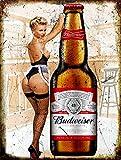 Nxsbns Budweiser Sexy Pin Up Girl Vintage Retro Stil Pub Bar Man Cave Metall Blechschild 30,5 x 20,3 cm
