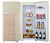 Amica Retro Kühlschrank Beige 229L VKSR 354 150 B Vollraumkühlschrank LED Innenbeleuchtung Creme