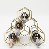 PLAYBOY Weinregal aus Metall für 5 Flaschen, Flaschenregal, Metallregal, Flaschenständer, Weinständer, gold, geometrische Form, Retro-Design, Clubstil, Bar, Lounge, Wohnzimmer, Esszimmer