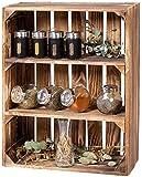 LAUBLUST Gewürzregal Holz Vintage - ca. 40 x 17 x 50 cm, Holzregal Geflammt | Küchenregal Hochformat 2 Regalböden