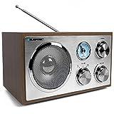 Blaupunkt RXN 180, Kchenradio Retro mit Bluetooth, einfaches Radio mit UKW/FM und Aux In, Retroradio mit Antenne, Bro-Radio, Analog Tuner, Kofferradio, Holzgehuse, eingebauter Lautsprecher, Holz