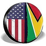 Hokdny Radreifenabdeckungen, Wasserdichter Ersatzreifenschutz,Guyana Flagge Usa Flagge Retro Reifenabdeckungen Auto Auto Ersatzreifen Reifenabdeckung