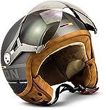 "Soxon® SP-325 Plus ""Titanium"" · Jet-Helm · Motorrad-Helm Roller-Helm Scooter-Helm Moped Mofa-Helm Chopper Retro Vespa Vintage Pilot Biker Helmet · ECE 22.05 Visier Schnellverschluss Tasche M (57-58cm)"
