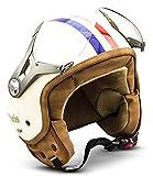 "SOXON® SP-325 ""Paris"" · Jet-Helm · Motorrad-Helm Roller-Helm Scooter-Helm Moped Mofa-Helm Chopper Retro Vespa Vintage Pilot Biker Helmet Brille · ECE 22.05 Visier Schnellverschluss Tasche L (59-60cm)"
