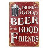 Blechschild Retro Bier Geschenk Magnet-Metall-Schild mit Sprüchen vintage lustige Türschilder Bier nostalgie Schild Deko Bar-Schild Beer Motiv 20x30 cm